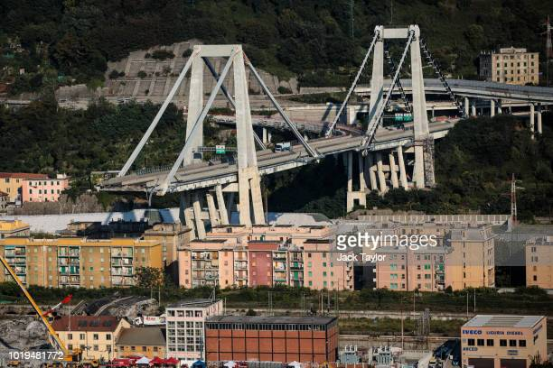 A stretch of the Morandi Bridge stands days after a section of it collapsed on August 19 2018 in Genoa Italy 43 people were killed after a large...