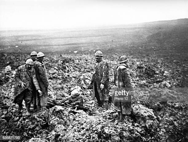 Stretcherbearers collecting the casualties after the Battle of Verdun France World War I