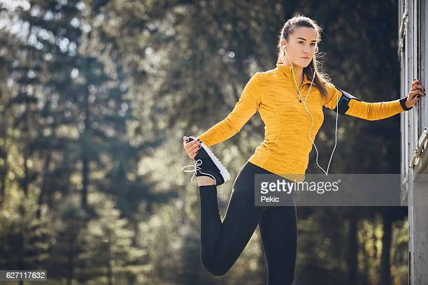 Étirements avant de jogging
