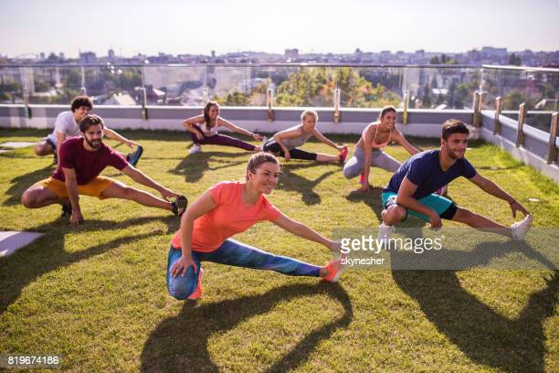Stretching on a penthouse terrace!