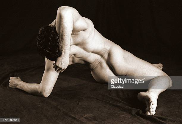 stretching - naturist male stock pictures, royalty-free photos & images