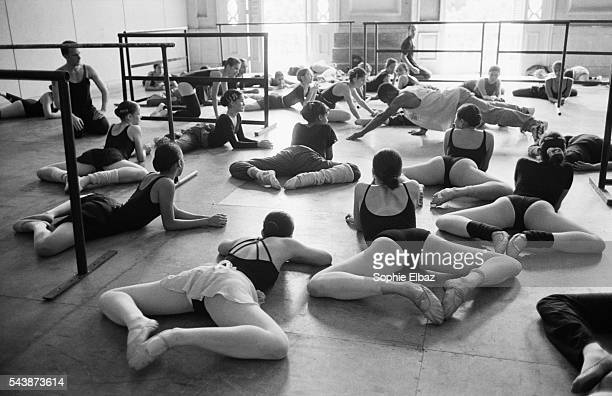 Stretching session for ballet pupils
