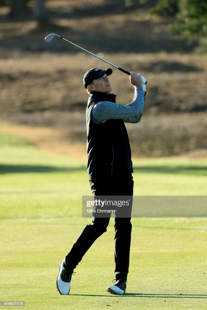Streve Stricker plays his shot on the first hole during Round One of the AT&T Pebble Beach Pro-Am at Spyglass Hill Golf Course on February 8, 2018 in Pebble Beach, California.