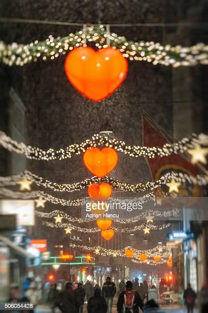 Strøget street in central Copenhagen with Christmas Decoration