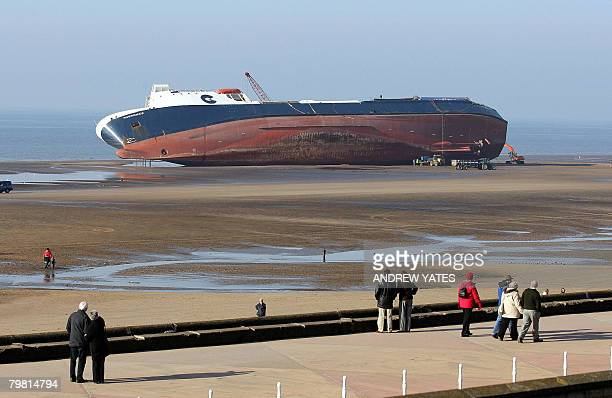 Stricken ferry 'Riverdance' sits on a sandbank for its 13th day on the north shore in Blackpool northwest England on February 17 2008 Twenty three...