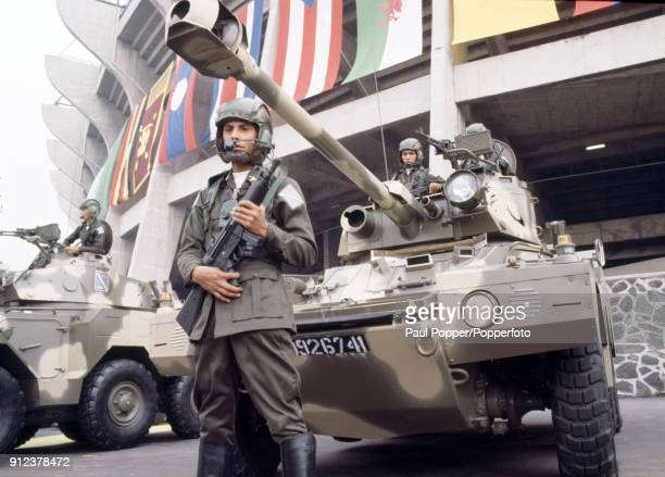 Strict security with the Mexican army providing armed guards outside the stadium prior to the FIFA World Cup Opening Ceremony and the match between...