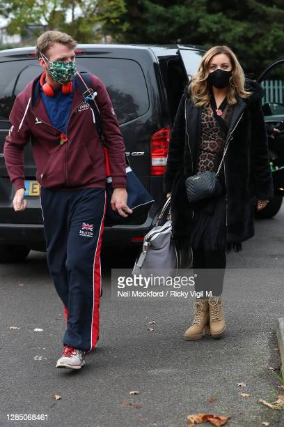 Strictly Come Dancing 2020 dancer JJ Chalmers and his partner Amy Dowden seen arriving at a rehearsal studio on November 11, 2020 in London, England.