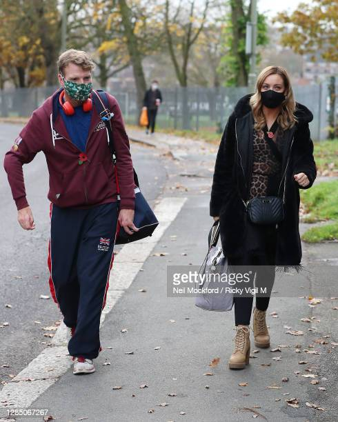 Strictly Come Dancing 2020 dancer JJ Chalmers and partner Amy Dowden seen arriving at a rehearsal studio on November 11, 2020 in London, England.