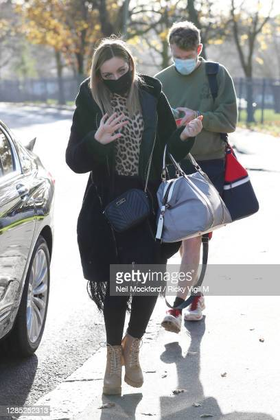 Strictly Come Dancing 2020 duo JJ Chalmers and his partner Amy Dowden seen arriving at a rehearsal studio on November 12, 2020 in London, England.