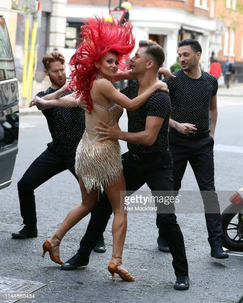 Strictly Come Dancing dancers Neil Jones Giovanni Pernice Pasha Kovalev and Dianne Buswell film an arrival scene ahead of their One Show performance...