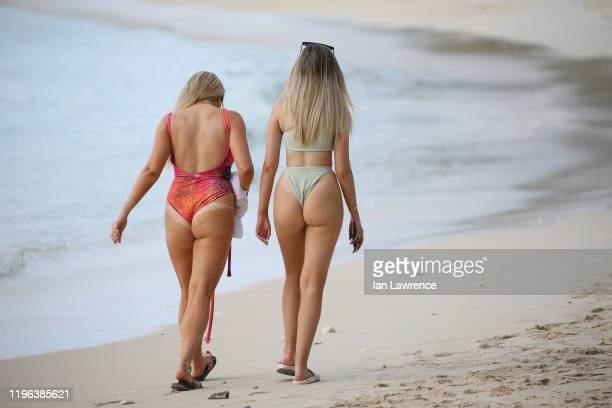 Strictly Come Dancing Saffron Barker seen taking a dip in the sea with fellow Youtuber friend Anastasia Kingnorth by Sandy Lane Hotel in Barbados....