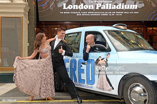 Strictly Come Dancing stars Aljaz Skorjanec and Janette Manrara at the London Palladium with London taxi driver Allan Lewis after he decorated his...