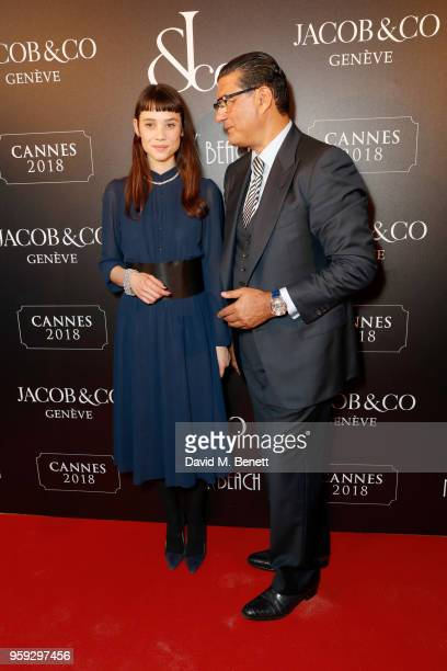 Ëstrid BergsFrisbey and Jacob Arabo attends the Jacob Co Cannes 2018 party at Nikki Beach on May 16 2018 in Cannes France