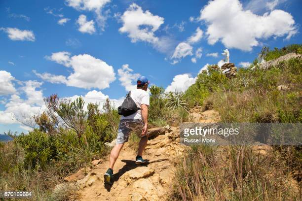 Striding up a hill