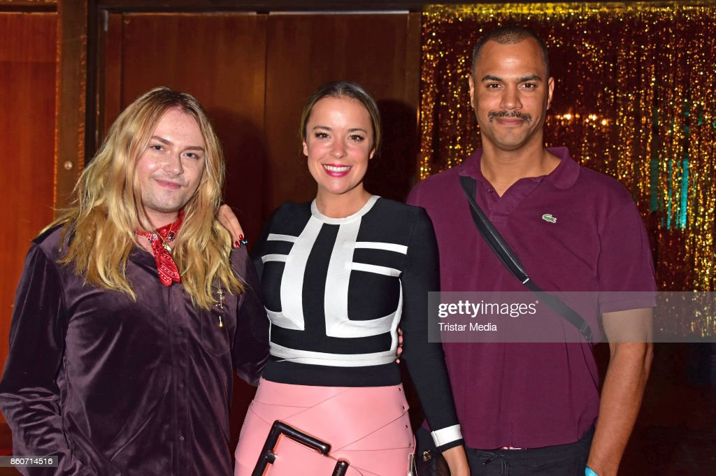 Strify, Marina Hoermanseder and Patrice Bouedibela attend the Amorelie Christmas Calender Launch Dinner on October 12, 2017 in Berlin, Germany.