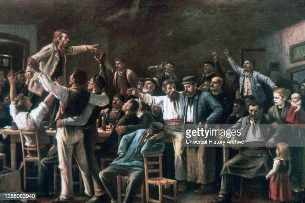 Strike', 1895. Artist: Mihaly Munkacsy. Mihaly Munkacsy was a Hungarian painter. He earned international reputation with his genre pictures and...