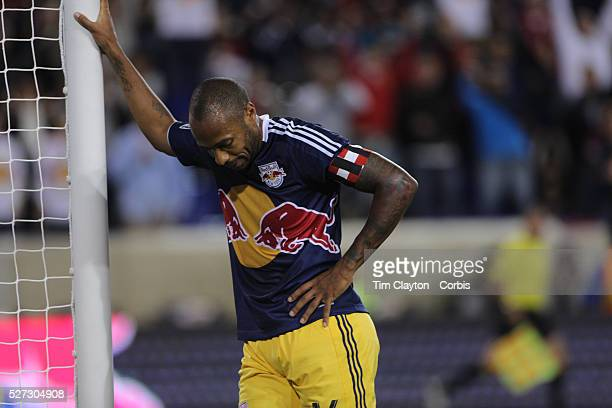 Strike a pose...Thierry Henry, New York Red Bulls, rest on the goalpost after scoring his sides first goal during the New York Red Bulls V Toronto...