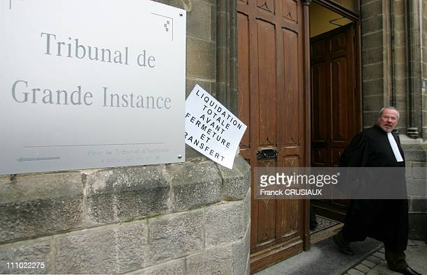 Strike and demonstration by lawyers protesting against the closure of the Tribunal de Grande Instance in the reform of the judicial system in...