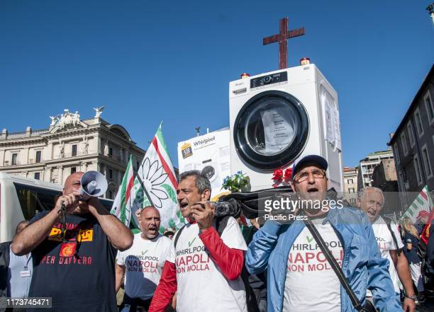 Strike and demonstration in Rome of workers of the American multinational Whirlpool against the company's decision to sell the Naples plant together...