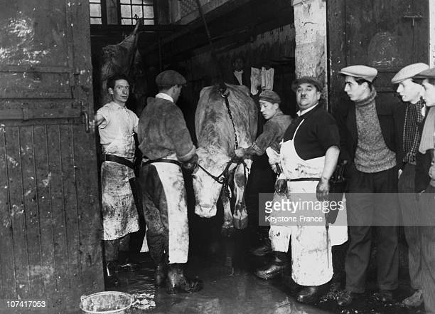 Strike At La Villette Slaughterhouse In Paris On January 1937