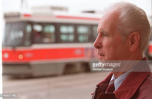 TTC strike avertedstreeter reactionstreetcar driver Larry Thomson61 white hairstreetcar in background over his shoulder at Queen and...