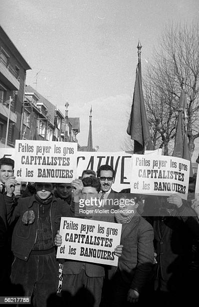 Strike of miners of the North of the France. Demonstration in Lens , in 1963.