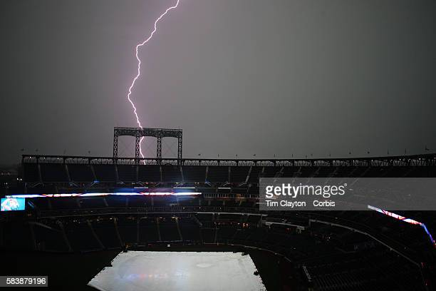 Strike oneA lightning bolt over Citi Field as stormy weather delayed the start of the St Louis Cardinals Vs New York Mets regular season MLB game at...