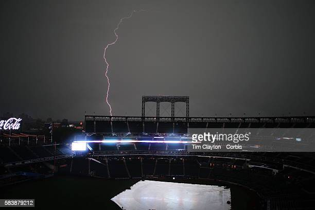 Strike Onea Lightning Bolt Over Citi Field As Stormy Weather Delayed The Start Of St