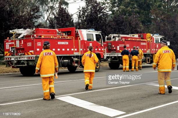 Strike team firefighters prepare to roll out on January 06 2020 in Cann River Australia Milder weather conditions have provided some relief for...