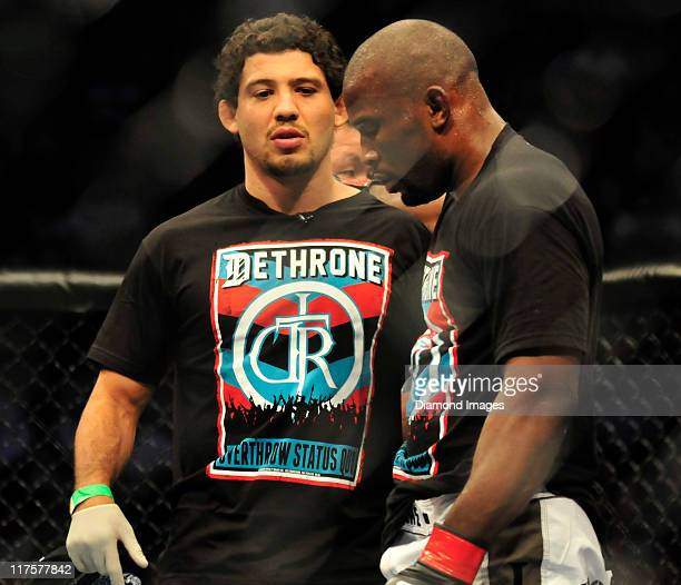 Strikeforce lightweight champion Gilbert Melendez talks to Daniel Roberts after a bout at UFC on Versus 4 Sunday June 26, 2011 at Consol Enegry...