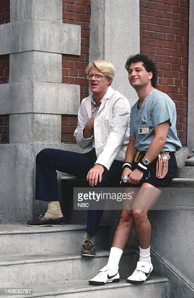 ST ELSEWHERE Strikeout Episode 4 Pictured Ed Begley Jr as Dr Victor Ehrlich Howie Mandel as Dr Wayne Fiscus Photo by Gary Null/NBCU Photo Bank