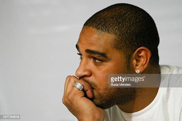 Striker Adriano of Roma unveils a social project at Vila Cruzeiro a slum where he was born on December 22 2010 in Rio de Janeiro Brazil The player...