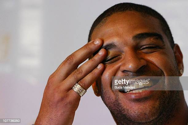 Striker Adriano of Roma unveils a social project at Vila Cruzeiro slum where he was born on December 22 2010 in Rio de Janeiro Brazil The player has...