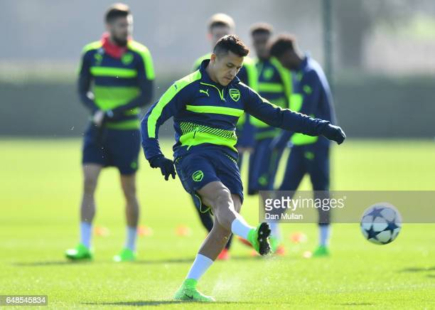 Striker Alexis Sanchez warms up during the Arsenal training session at London Colney on March 6 2017 in St Albans England