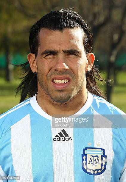 Striker Carlos Tevez of Argentina's National team for the 2010 FIFA World Cup South Africa poses during a photo session on May 26 2010 in Buenos...