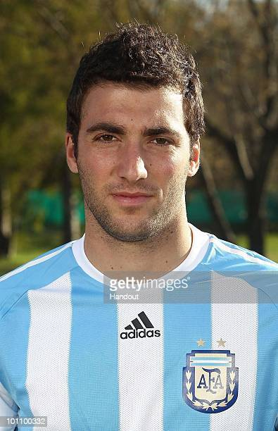 Striker Gonzalo Higuain of Argentina's National team for the 2010 FIFA World Cup South Africa poses during a photo session on May 26 2010 in Buenos...