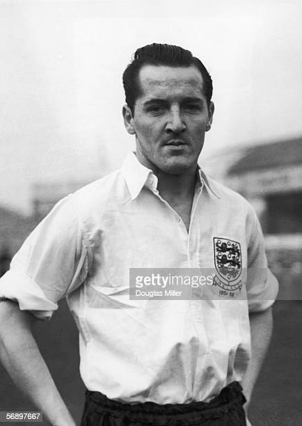 Striker Jack Sewell wearing his England shirt made for the international game against Ireland played at Villa Park 16th November 1951 He also played...