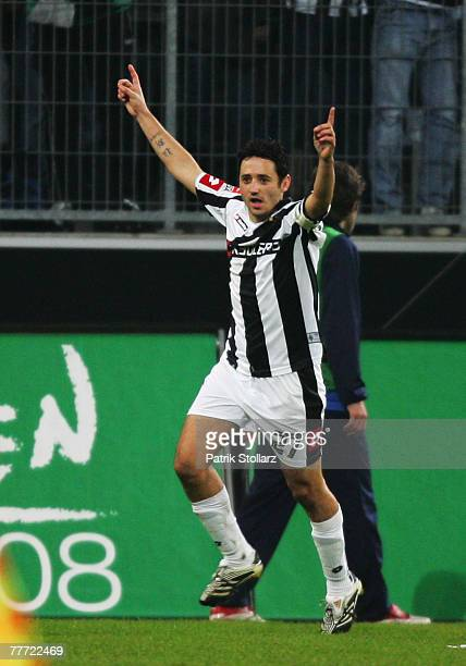 Striker Oliver Neuville of Moenchengladbach celebrates after the 2:1goal during the Second Bundesliga match between Borussia Moenchengladbach and FC...