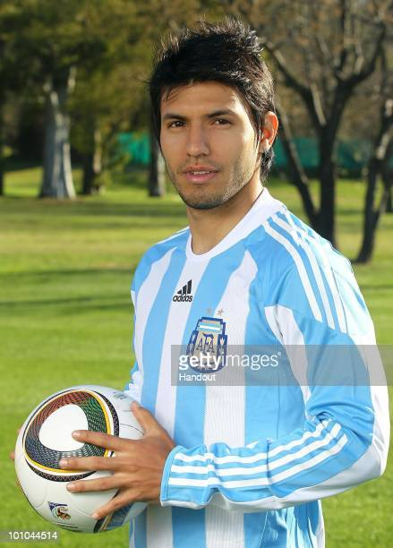 Striker Sergio Aguero of Argentina's National team for the 2010 FIFA World Cup South Africa poses during a photo session on May 26 2010 in Buenos...