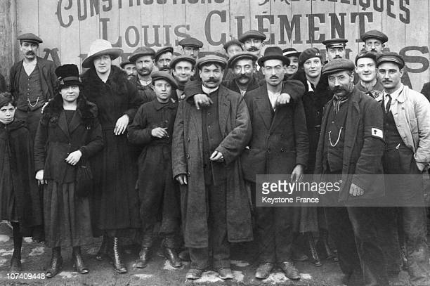 Striker Working Men In Front Of Louis Clement Factory Ar Levallois On July 1St 1910