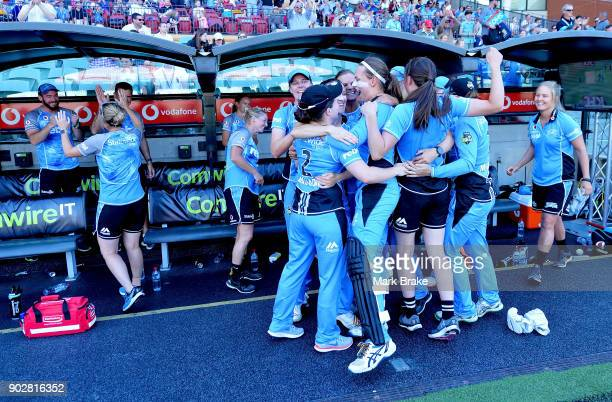 Strikers bench celebrate during the Women's Big Bash League match between the Adelaide Strikers and the Melbourne Stars at Adelaide Oval on January 9...