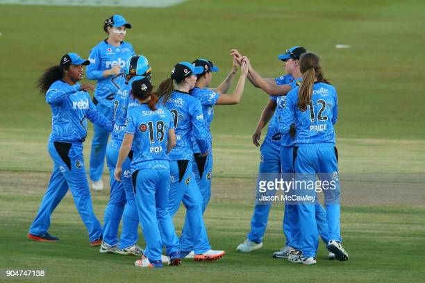 Strikers celebrate victory during the Women's Big Bash League match between the Perth Scorchers and the Adelaide Strikers at Traeger Park on January...
