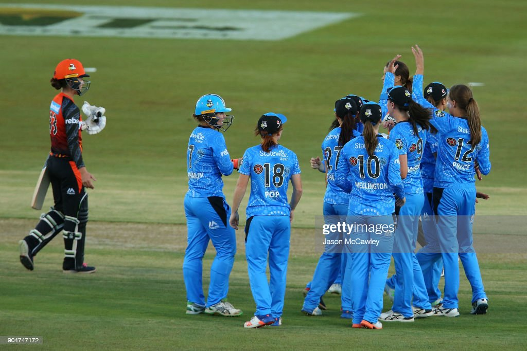 Strikers celebrate victory during the Women's Big Bash League match between the Perth Scorchers and the Adelaide Strikers at Traeger Park on January 14, 2018 in Alice Springs, Australia.