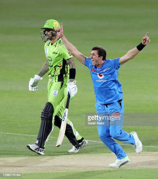 Strikers Daniel Worrall celebrates the wicket of Usman Khawaja of the Thunder bowled for a duck during the Big Bash League match between the Adelaide...