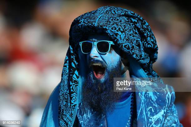 Strikers fan shows his support during the Big Bash League Final match between the Adelaide Strikers and the Hobart Hurricanes at Adelaide Oval on...