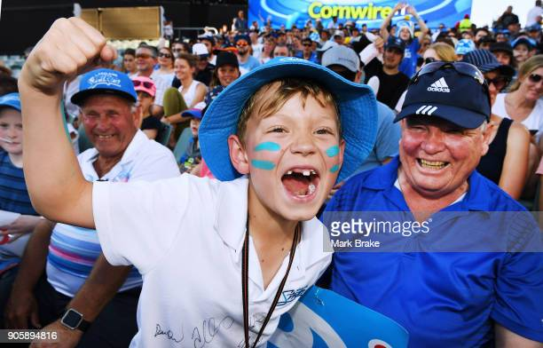 Strikers fans enjoy the atmosphere during the Big Bash League match between the Adelaide Strikers and the Hobart Hurricanes at Adelaide Oval on...