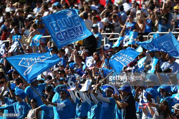 Strikers fans show their support during the Big Bash League Final match between the Adelaide Strikers and the Hobart Hurricanes at Adelaide Oval on...