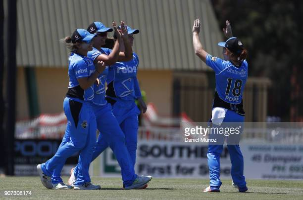 Strikers players celebrate taking the wicket of Thunder Rachael Haynes during the Women's Big Bash League match between the Sydney Thunder and the...