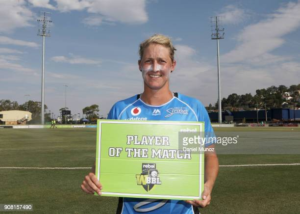 Strikers Sophie Devine poses with the player of the match card after the Women's Big Bash League match between the Adelaide Strikers and the Sydney...