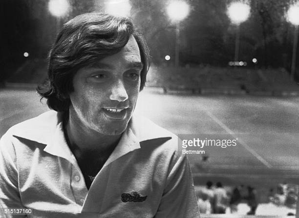 Strikers star George Best watches the Strikers Edmonton game from the press box after returning to the club from a week long absence because of...